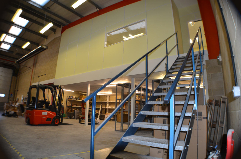 Office On Mezzanine Floor and Access Stairs installed by Cubex Contracts Northants