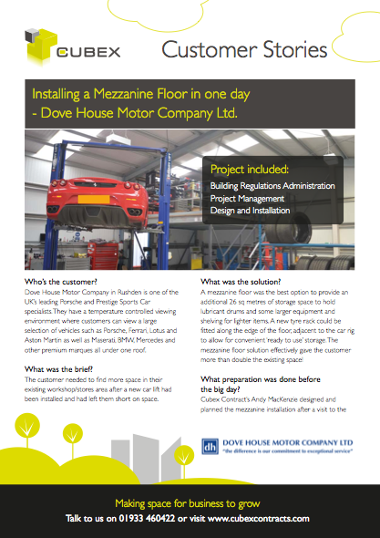 Dove House Motor Company - installing a mezzanine floor in one day