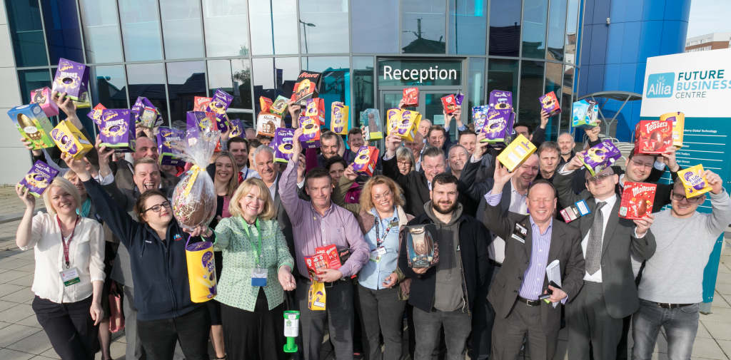 photo showing BNI Synergy members including cubex contracts donating eggs to Action for Aspergers as part of Autism Awareness month