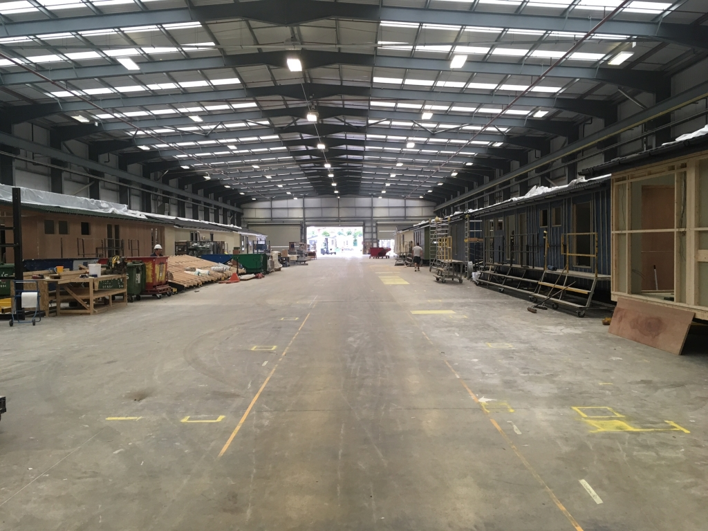 Warehouse for Prestige Homes in Rushden before industrial mezzanine is installed by Cubex Contracts Northants