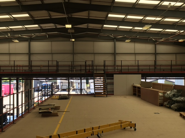 Top side view of industrial mezzanine for Prestige Homes Rushden installed by Cubex Contracts Northants