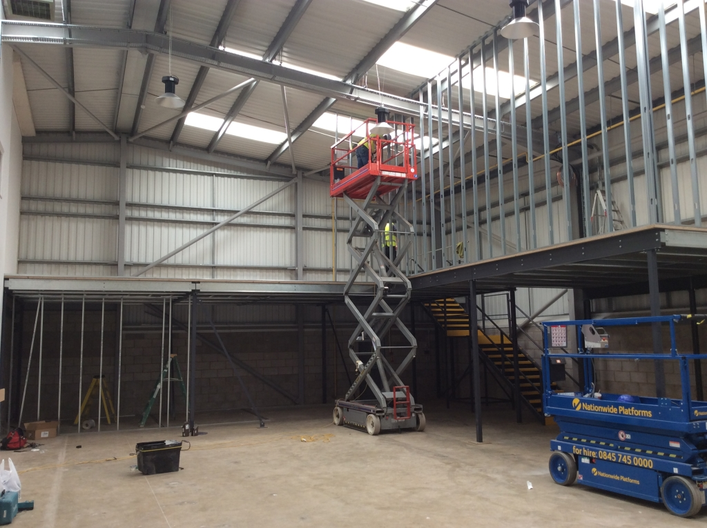 Jumbo stud partitioning being erected on a Mezzanine by Cubex Contracts Northants