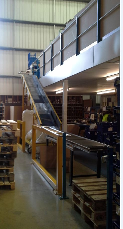 Storage Mezzanine, Goods and Conveyor Belt installed by Cubex Contracts Northants