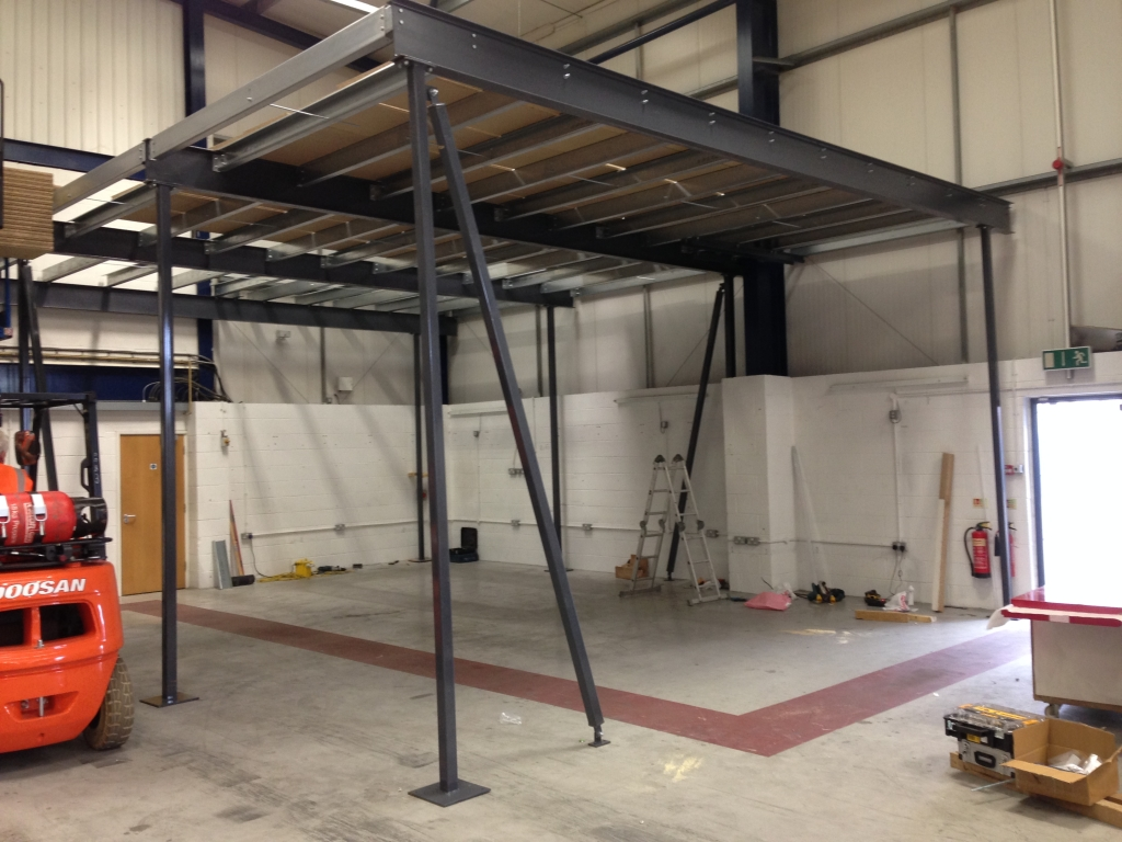In progress photos of a Storage Mezzanine installation by Cubex Contracts Northants
