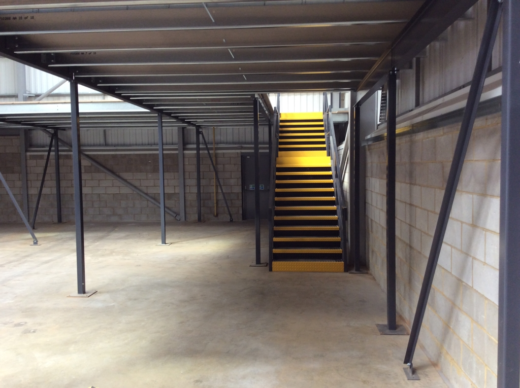 Underside of an Office Mezzanine being installed by Cubex Contracts Northants