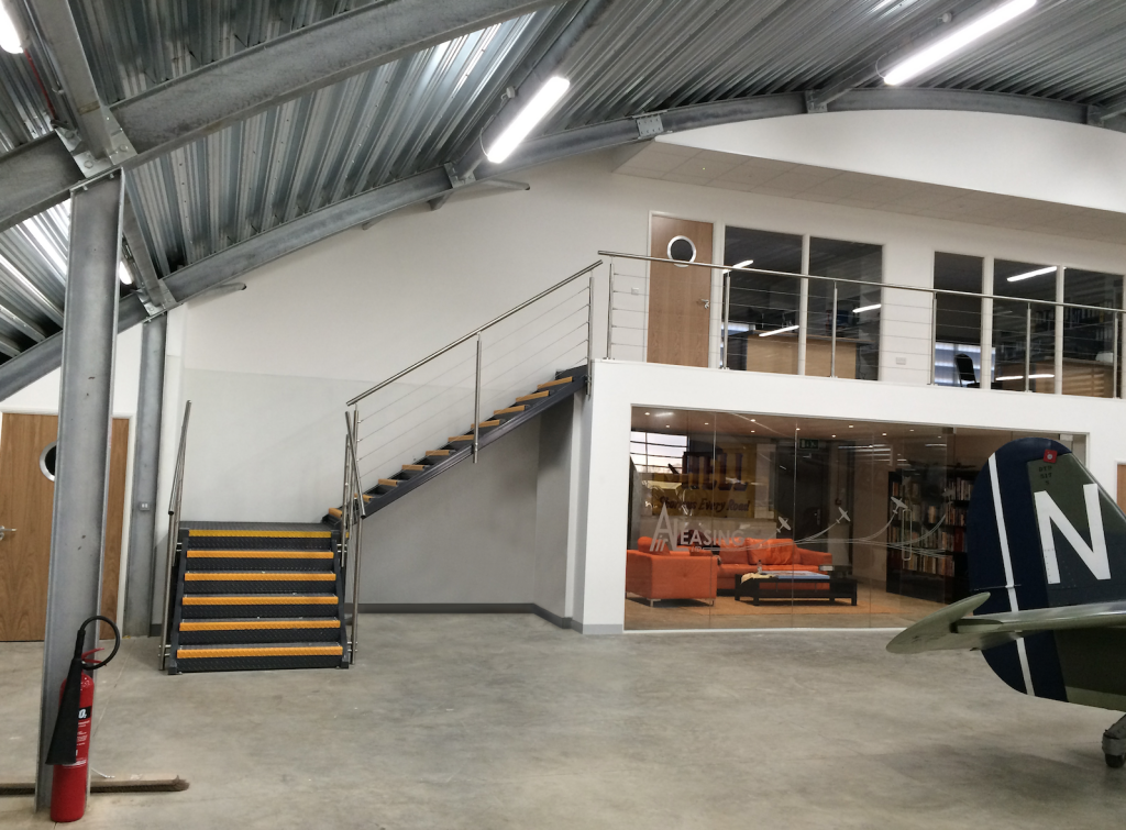 Office Mezzanine with meeting area underneath - installed by Cubex Contracts Northants
