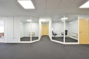 Millies Sandwiches - a view of the completed offices on the mezzanine floor installed by Cubex Contracts Northants