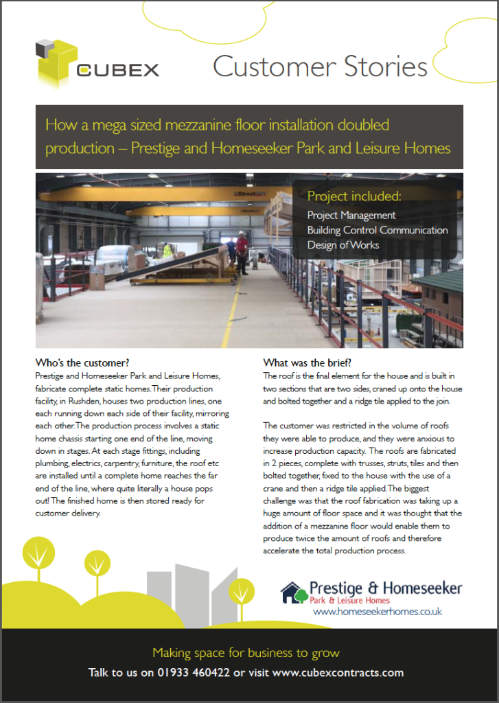 How a mezzanine doubled production - Prestige and Homeseeker (Park and Leisure Homes)