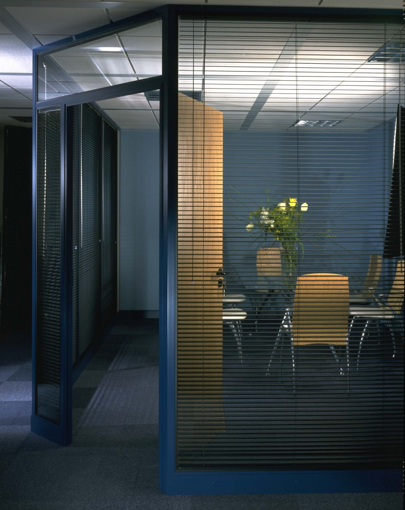 Glass meeting room with blinds