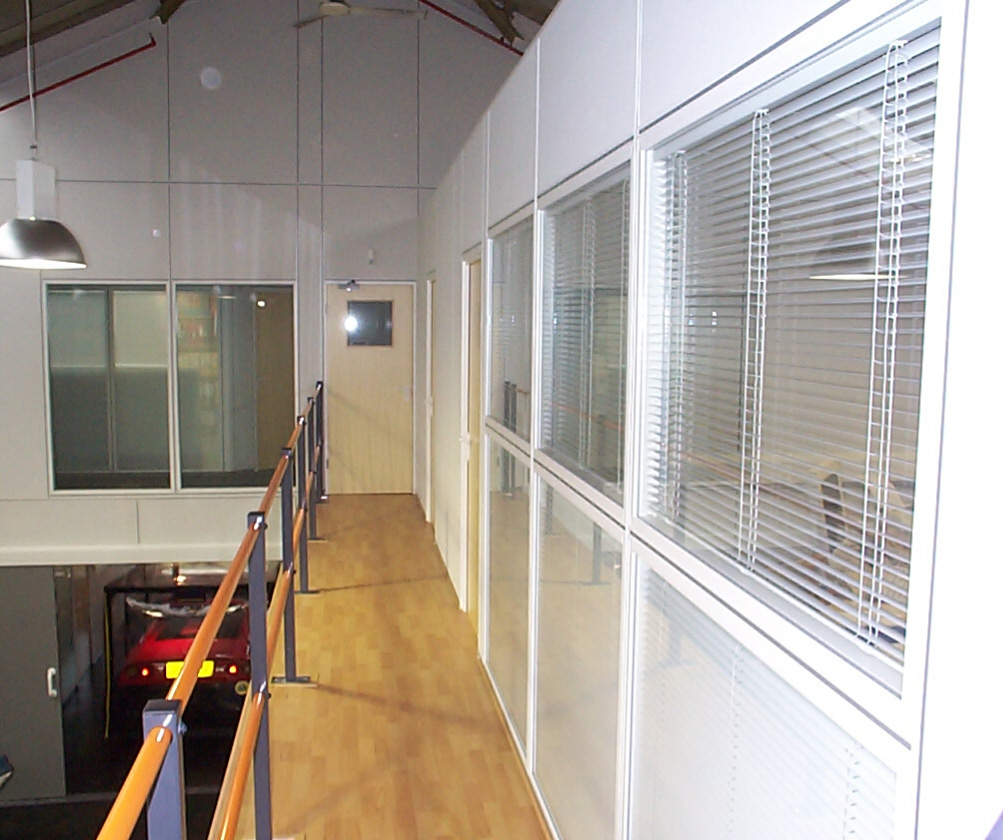 Office Mezzanine walkway installed as a part of a project by Cubex Contracts Northants
