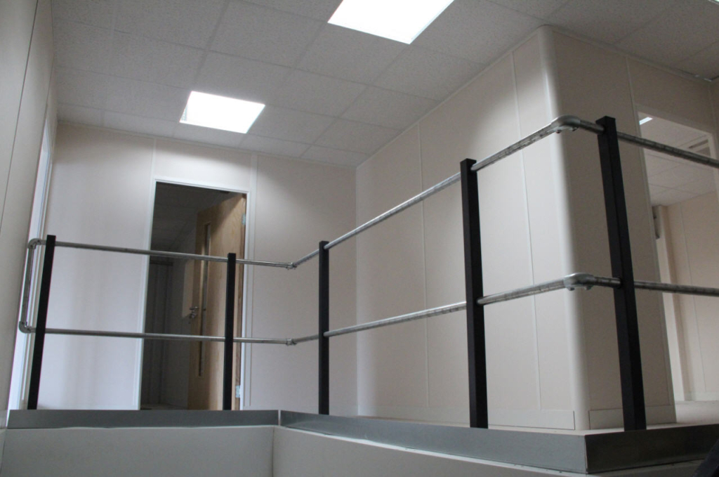 Office Mezzanine Close Up Showing Safety Rails installed by Cubex Contracts Northants