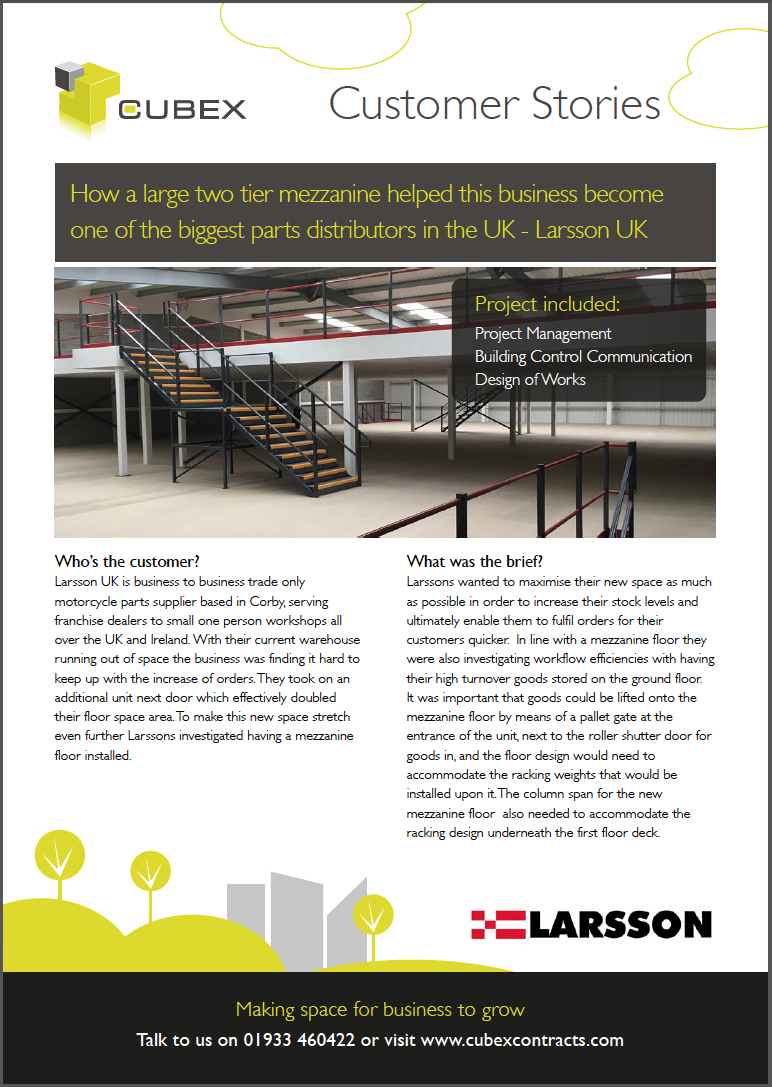 download the customer story - how a two tier mezzanine helped this business become one of largest parts distributors in the uk - for larsson uk, built by Cubex Contracts