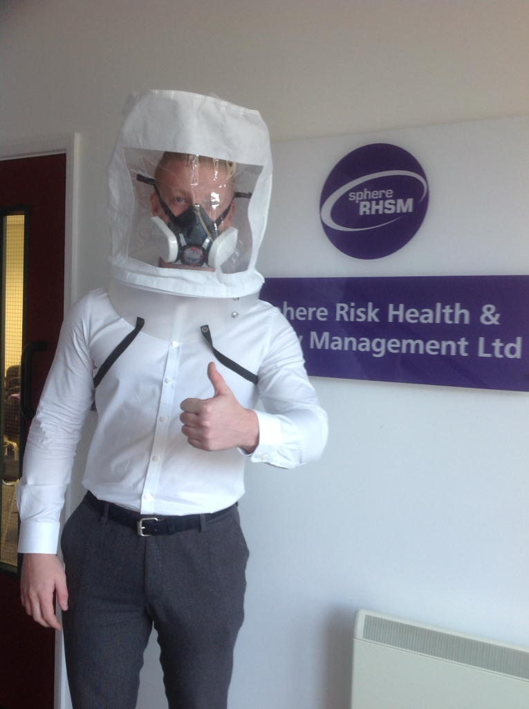 Mason Whiting, our Site Manager being face fit tested for a full face mask RPE at Sphere RHSM Ltd, our H&S partners