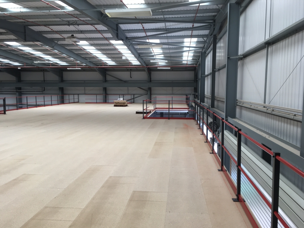 Boarded Mezzanine Floor ready for storage - installed by Cubex Contracts Northants