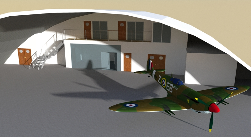 Office Mezzanine Design Rendering For Aircraft Hanger 02