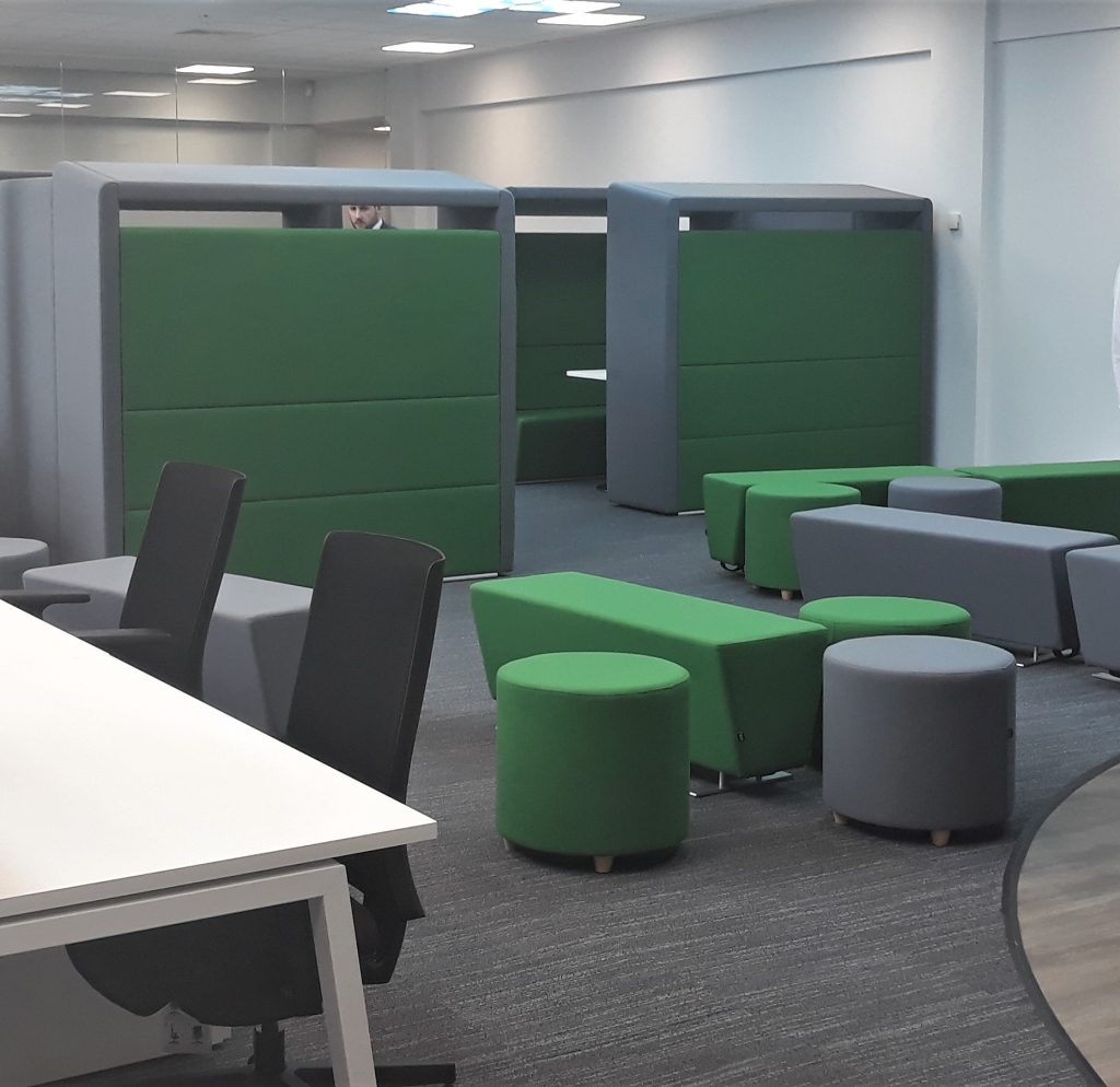 Casual seating and meeting pod furniture in a break out room designed for an engineering team in Northampton - by Cubex Contracts