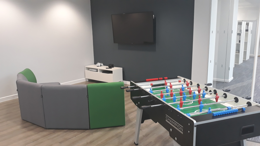 Games area in break out room created for an engineering team in Northampton - part of a refurbishment project by Cubex Contracts