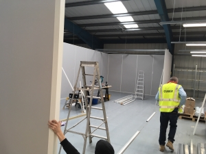 Clean room installation showing partitioning progress