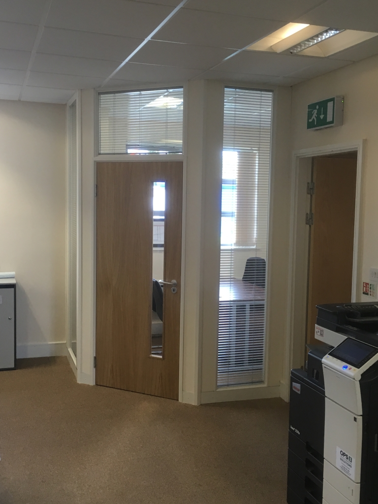 Double glazed meeting room with blinds