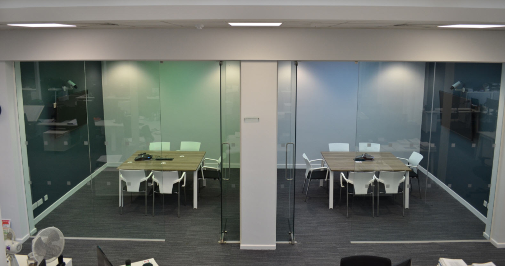 Office Meeting Rooms With Glass Partitions Designed By Cubex Contracts