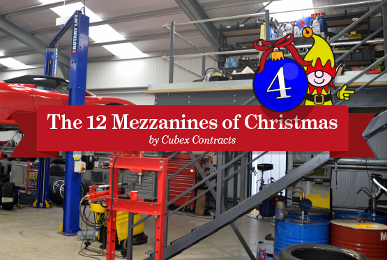 A mezzanine built in a day for Dove House Motor Company in Rushden.
