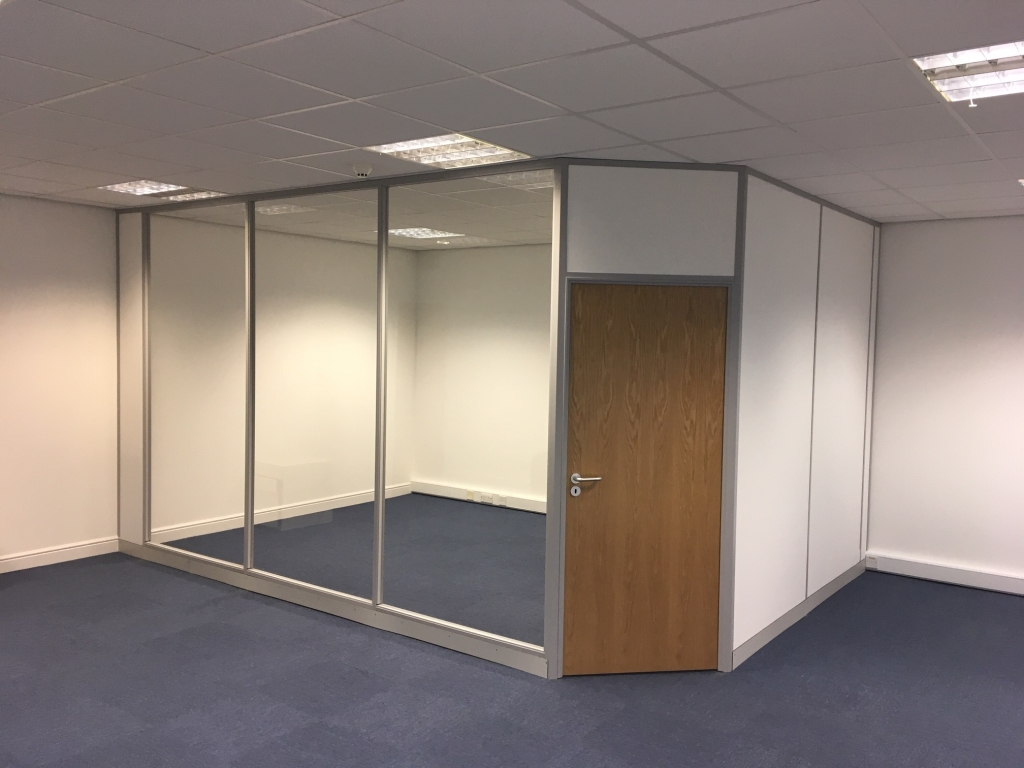 After photo – new meeting room on the floor above, using the same partitioning. Glass manifestation was added later as well. (2020)