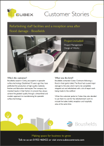 Refurbishment after flood damage at Bousfields - Customer Story pd