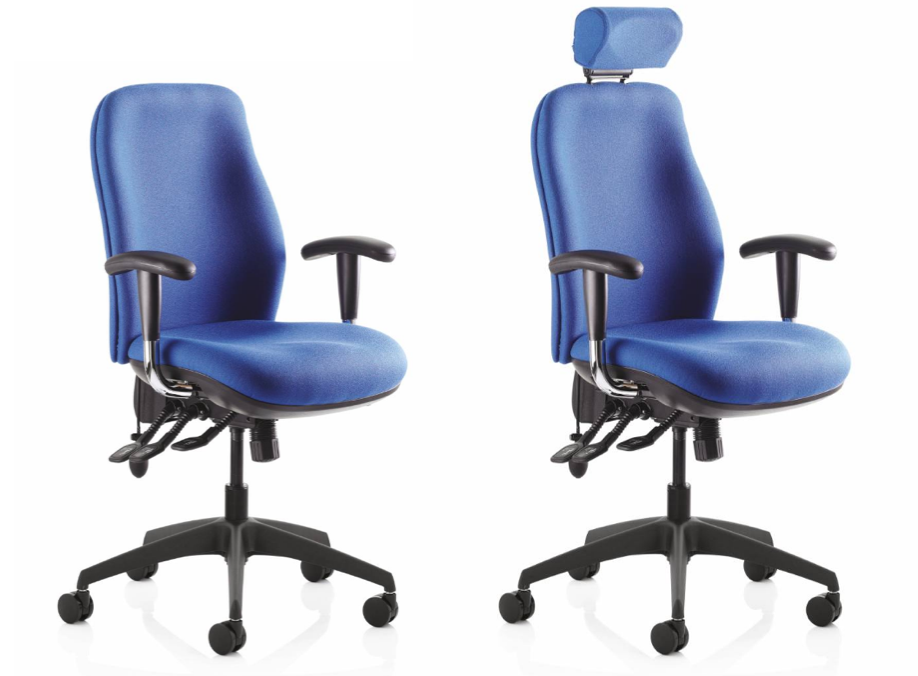 The RE-ACT Deluxe task chair ( from Ocee Design)  comes in a range of optional extras including a head rest, coccyx cut-out and, seat and back lumbar support.