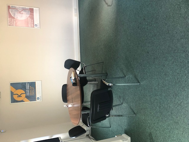 Before: A view of vinyl flooring that had been flood damaged in Rushden client's head office.