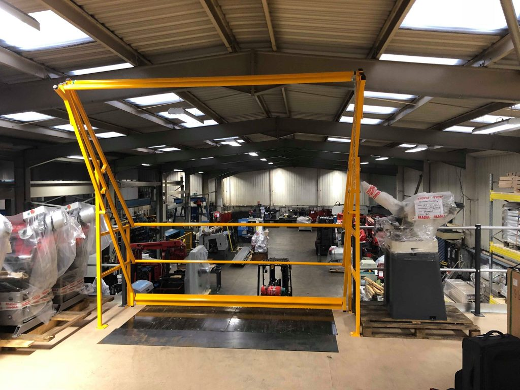 Up and Over pallet gate is in position so a pallet can be moved into place ready for removal from the mezzanine floor.